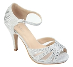 Shimmer T-Strap Peep Toe High Heel Shoe