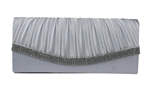 Silver Grey Pleated Satin Wedding Evening Clutch