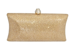 Glitter Mesh Hard Box Evening Wedding Clutch Purse With Rhinestone Closure