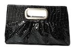 Black Glossy Pleather Casual Clutch Bag