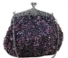 Purple sequin formal clutch bag