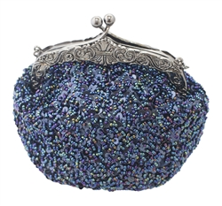 Blue sequin formal clutch bag