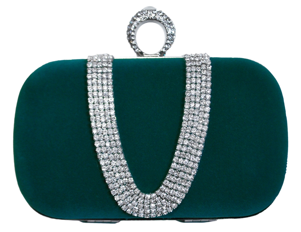 Chicastic Green Suede Rhinestone Studded One Ring Knuckle Duster Style Minaudiere Evening Cocktail Clutch Bag at Sears.com