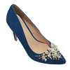 Suede High Heel Pearl Decor Pump Shoe