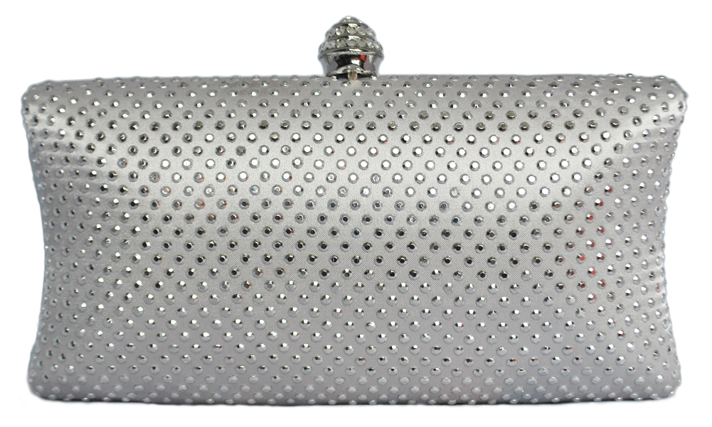 Silver Rhinestone Crystal Hard Box Cocktail Clutch Purse 5a671da7b