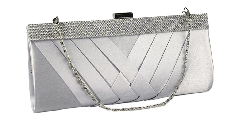 Silver Satin Cocktail Evening Wedding Clutch Purse Bag with ... e262bed87