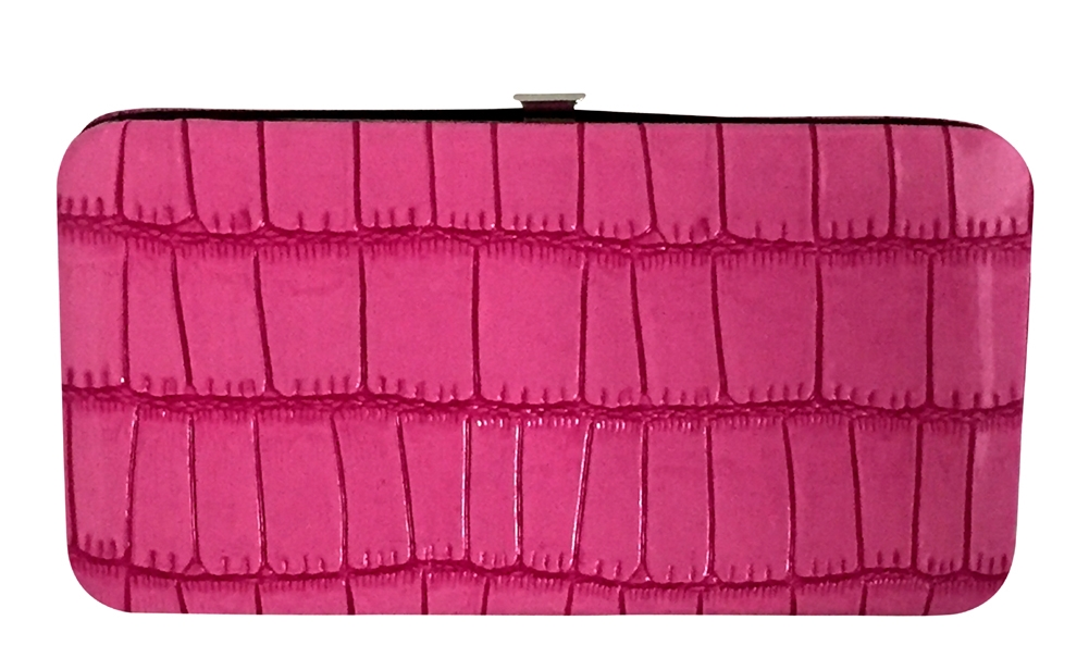 456ca5e2791899 Pink Small Snake Skin Print Leather Flat Wallet