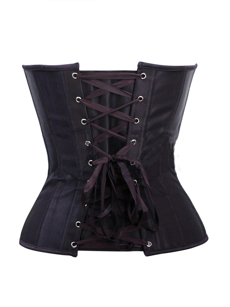 Black Satin Corset With Sexy Lace & Boned Bustier Top