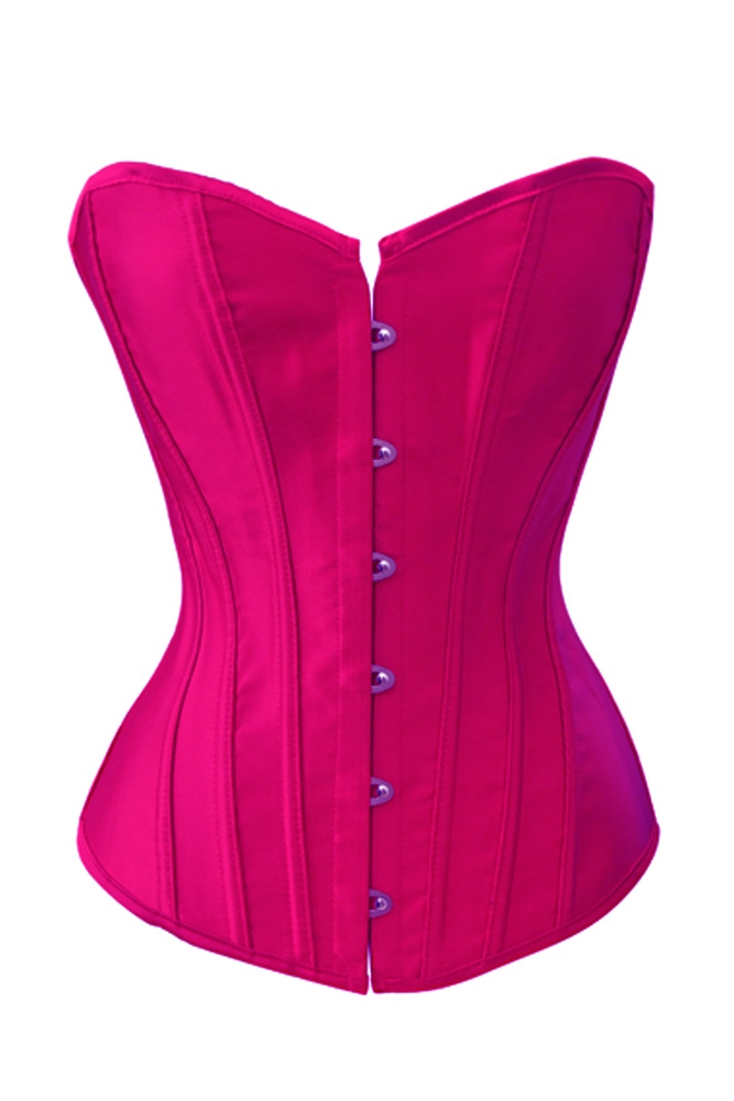 00167ae821 Hot Pink Satin Lace Up Sexy Strong Boned Corset