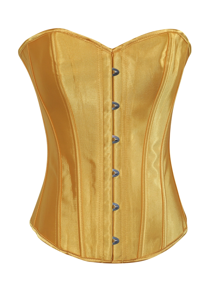 c59d3ad35f Yellow Satin Lace Up Strong Boned Corset