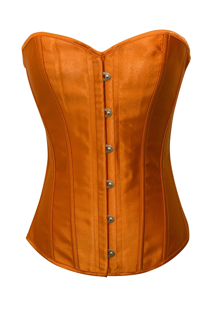50e5a84cd0 Orange Satin Lace Up Strong Boned Corset